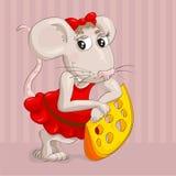 Ποντίκι Ittle με τη φέτα του τυριού Στοκ Εικόνες
