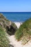 Πορεία μέσω των αμμόλοφων άμμου στην παραλία Στοκ εικόνες με δικαίωμα ελεύθερης χρήσης