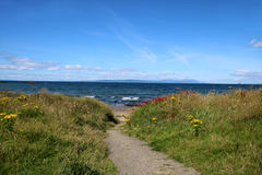 Πορεία μέσω των αμμόλοφων στην παραλία Στοκ Εικόνες