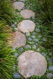 Πορεία περιπάτων με να περπατήσει τις πέτρες και τη βλάστηση, τοπίο κήπων Στοκ εικόνα με δικαίωμα ελεύθερης χρήσης
