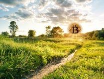 Πορεία που οδηγεί στο ανερχόμενος χρυσό bitcoin Στοκ εικόνα με δικαίωμα ελεύθερης χρήσης