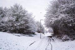 Πορεία ποδηλάτων που καλύπτεται από το χιόνι το βρετανικό χειμώνα 3 Στοκ Εικόνα