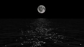 Πορεία σεληνόφωτου με το χαμηλό φεγγάρι ανόητων επάνω από τη θάλασσα φιλμ μικρού μήκους