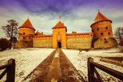 Πορεία στο αρχαίο κάστρο του Τρακάι Στοκ Εικόνες