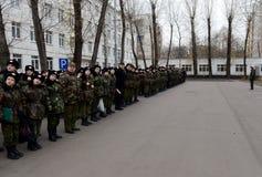 Πορεία της παρέλασης στο σώμα μαθητών στρατιωτικής σχολής της αστυνομίας Στοκ φωτογραφία με δικαίωμα ελεύθερης χρήσης