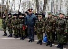 Πορεία της παρέλασης στο σώμα μαθητών στρατιωτικής σχολής της αστυνομίας Στοκ Φωτογραφία