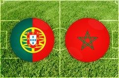 Πορτογαλία εναντίον του αγώνα ποδοσφαίρου Marocco Στοκ φωτογραφία με δικαίωμα ελεύθερης χρήσης