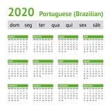 2020 πορτογαλικό αμερικανικό ημερολόγιο στοκ εικόνα
