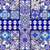 Πορτογαλικό διάνυσμα σχεδίων κεραμιδιών άνευ ραφής με τις μπλε και άσπρες διακοσμήσεις Talavera, azulejo, μεξικάνικα, ισπανικά ή  ελεύθερη απεικόνιση δικαιώματος
