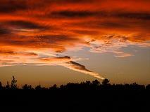 Πορτογαλικό λαμπρό ηλιοβασίλεμα πορτοκαλιών και σκιαγραφιών στοκ φωτογραφία
