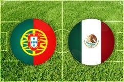 Πορτογαλία εναντίον του αγώνα ποδοσφαίρου του Μεξικού Στοκ Εικόνες