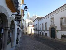 Πορτογαλία, Evora, το βράδυ στις παλαιές οδούς Στοκ Εικόνες