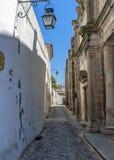 Πορτογαλία, vora à ‰ Πέτρινες σπίτια και οδοί, που στρώνονται με την πέτρα Στοκ Εικόνες