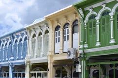 Πορτογαλικά κτήρια ύφους Chino στην πόλη Phuket Στοκ Εικόνες