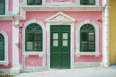 Πορτογαλική αποικιακή αρχιτεκτονική σπιτιών στο Μακάο Κίνα Στοκ εικόνα με δικαίωμα ελεύθερης χρήσης