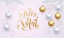 Πορτογαλικός Χαρούμενα Χριστούγεννας Feliz γενέθλιος άσπρος χαιρετισμός σφαιρών διακοσμήσεων χρυσός διανυσματική απεικόνιση