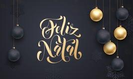 Πορτογαλικός Χαρούμενα Χριστούγεννας Feliz γενέθλιος χαιρετισμός διακοσμήσεων σφαιρών διακοσμήσεων χρυσός απεικόνιση αποθεμάτων