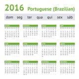 2016 πορτογαλικό αμερικανικό ημερολόγιο Ενάρξεις εβδομάδας την Κυριακή Στοκ Εικόνα