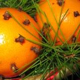 Πορτοκάλια με τα φύλλα και τα γαρίφαλα πεύκων Στοκ φωτογραφία με δικαίωμα ελεύθερης χρήσης