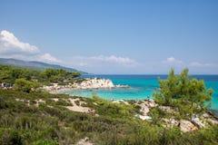Πορτοκάλι ή παραλία Portokali στην ελληνική χερσόνησο Sithonia Στοκ φωτογραφία με δικαίωμα ελεύθερης χρήσης
