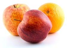 πορτοκάλι δύο μήλων Στοκ Εικόνες