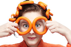 πορτοκάλι κοριτσιών στοκ εικόνα με δικαίωμα ελεύθερης χρήσης