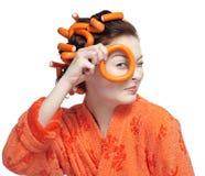 πορτοκάλι κοριτσιών στοκ φωτογραφίες με δικαίωμα ελεύθερης χρήσης