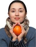 πορτοκάλι κοριτσιών στοκ φωτογραφίες