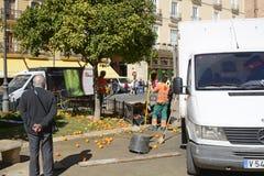 Πορτοκάλια επιλογής στην πόλη της Βαλένθια, Ισπανία Στοκ Εικόνες