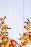 Πορτοκάλια, ώριμα φρούτα που επιλέγονται πρόσφατα σε έναν άσπρο ξύλινο πίνακα, σπόλα Στοκ Εικόνα