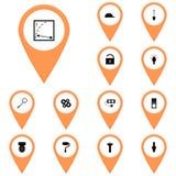 Πορτοκάλι εικονιδίων, callout, χάρτης/διανυσματικό βολτόμετρο εικονιδίων οργάνων εικονιδίων καθορισμένο, διανυσματική απεικόνιση