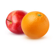 Πορτοκάλι και Apple, που απομονώνονται στο άσπρο υπόβαθρο Στοκ φωτογραφία με δικαίωμα ελεύθερης χρήσης