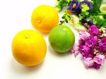 Πορτοκάλι & λουλούδια σε ένα άσπρο υπόβαθρο στοκ φωτογραφίες με δικαίωμα ελεύθερης χρήσης