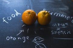 Πορτοκάλι σε ένα μαύρο υπόβαθρο μεταλλινών με τις επιγραφές κιμωλίας Στοκ Εικόνες