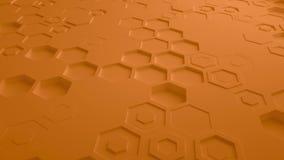 Πορτοκαλής αφηρημένος Hexagon γεωμετρικός άνευ ραφής βρόχος 4K UHD επιφάνειας Μπροστινή όψη απεικόνιση αποθεμάτων