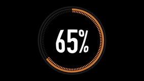Πορτοκαλής και κόκκινος φραγμός φόρτωσης ζωτικότητας με το άλφα κανάλι 0-100 τοις εκατό Πορτοκαλής και κόκκινος κύκλος στο μαύρο  διανυσματική απεικόνιση