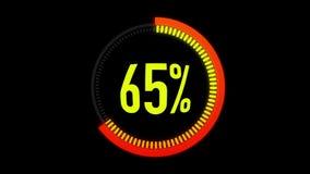 Πορτοκαλής και κόκκινος φραγμός φόρτωσης ζωτικότητας με το άλφα κανάλι 0-100 τοις εκατό Πορτοκαλής και κόκκινος κύκλος στο μαύρο  ελεύθερη απεικόνιση δικαιώματος