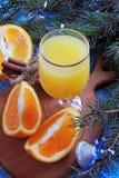 Πορτοκαλής και χυμός από πορτοκάλι νέο έτος ανασκόπησης Στοκ Εικόνες