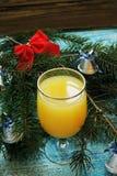 Πορτοκαλής και χυμός από πορτοκάλι νέο έτος ανασκόπησης Στοκ Εικόνα