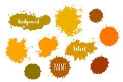 Πορτοκαλής παφλασμός χρωμάτων συλλογής Διανυσματικό σύνολο κτυπημάτων βουρτσών ελεύθερη απεικόνιση δικαιώματος
