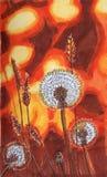 Πορτοκαλής spikelet πικραλίδων λουλουδιών φθινοπώρου ηλιοβασιλέματος σίτος απεικόνιση αποθεμάτων
