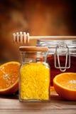πορτοκαλί άλας βάζων μελ&io Στοκ Φωτογραφίες