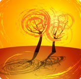 πορτοκαλί δέντρο ανασκόπησης φθινοπώρου Στοκ Εικόνες