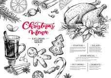 πορτοκαλί διάνυσμα καταλόγων επιλογής απεικόνισης διακοπών δικράνων Χριστουγέννων γλυκάνισου Χειμερινό εστιατόριο και πρότυπο σκί Ελεύθερη απεικόνιση δικαιώματος