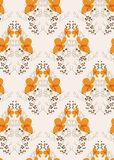 Πορτοκαλί διανυσματικό floral σχέδιο πρωτόγονος Σκανδιναβός σχεδίων λουλουδιών άνευ ραφής ελεύθερη απεικόνιση δικαιώματος
