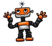 Πορτοκαλί ευτυχές ρομπότ Στοκ εικόνες με δικαίωμα ελεύθερης χρήσης