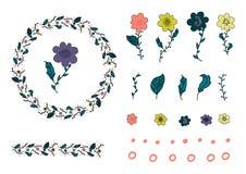 Πορτοκαλί, κίτρινο, πορφυρό λουλούδι doodle, doodle φύλλα και κύκλος Βούρτσα στεφανιών και λουλουδιών διανυσματική απεικόνιση