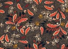 Πορτοκαλί και άσπρο floral άνευ ραφής σχέδιο στο μαύρο υπόβαθρο στοκ εικόνες