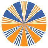 Πορτοκαλί και μπλε στοιχείο σχεδίου ηλιοφάνειας του εικονιδίου βελών Περίληψη διανυσματική απεικόνιση