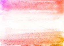 Πορτοκαλί και ρόδινο υπόβαθρο watercolor χεριών οικολογίας, απεικόνιση ράστερ ελεύθερη απεικόνιση δικαιώματος